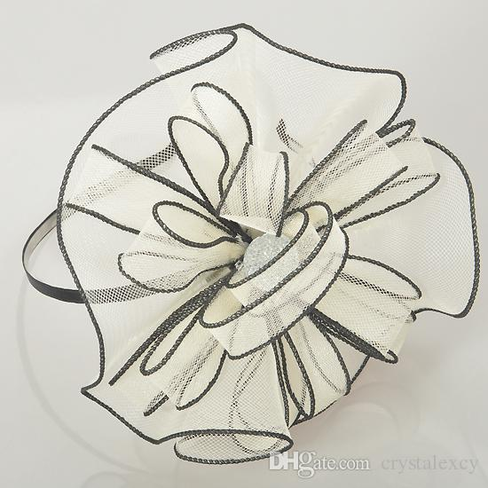new trendy handmade lady bridal netting mesh headband hair clip accessory party proms ladies day gift ivory colour handmade headband