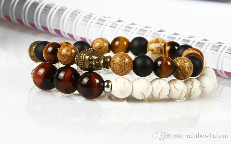 Новый дизайн мода браслет Оптовая 10 шт./лот 8 мм картина яшма с тигровый глаз камень бусины бронзовый Будда головы браслеты