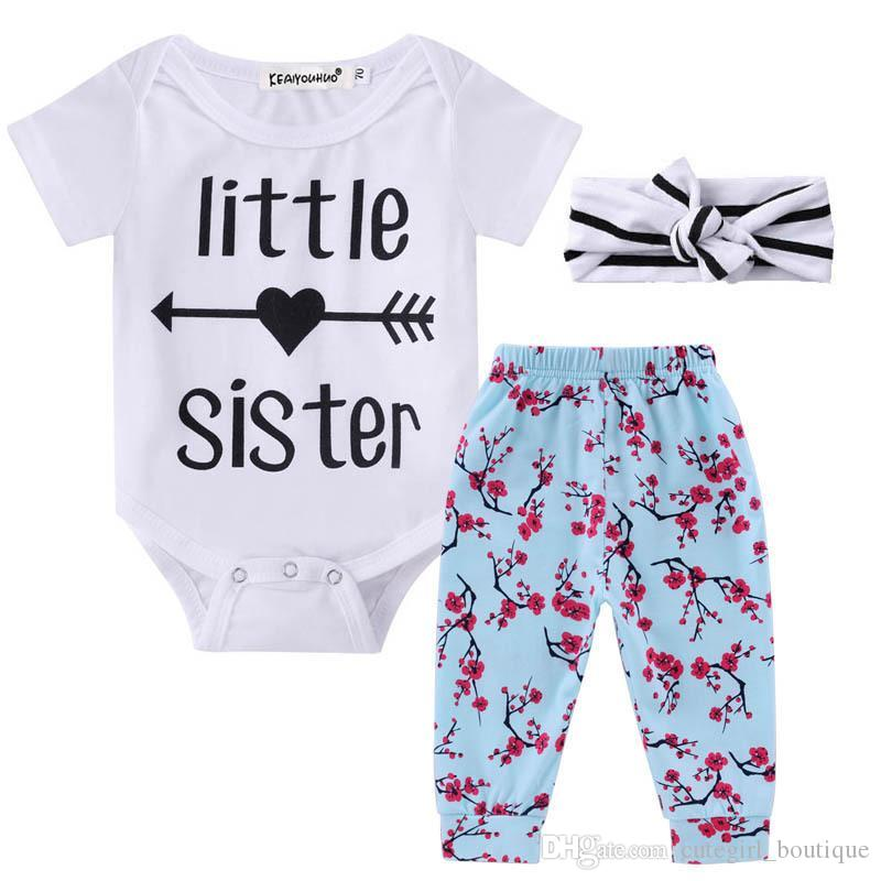 9a943ccdf 2019 HUG ME 2 Style Hot Sale Kids Set 2017 Newborn Baby Girls Boy Tops  Romper +Long Pants+Hairband Outfits ARROW Printed Clothes Cotton Set From  ...