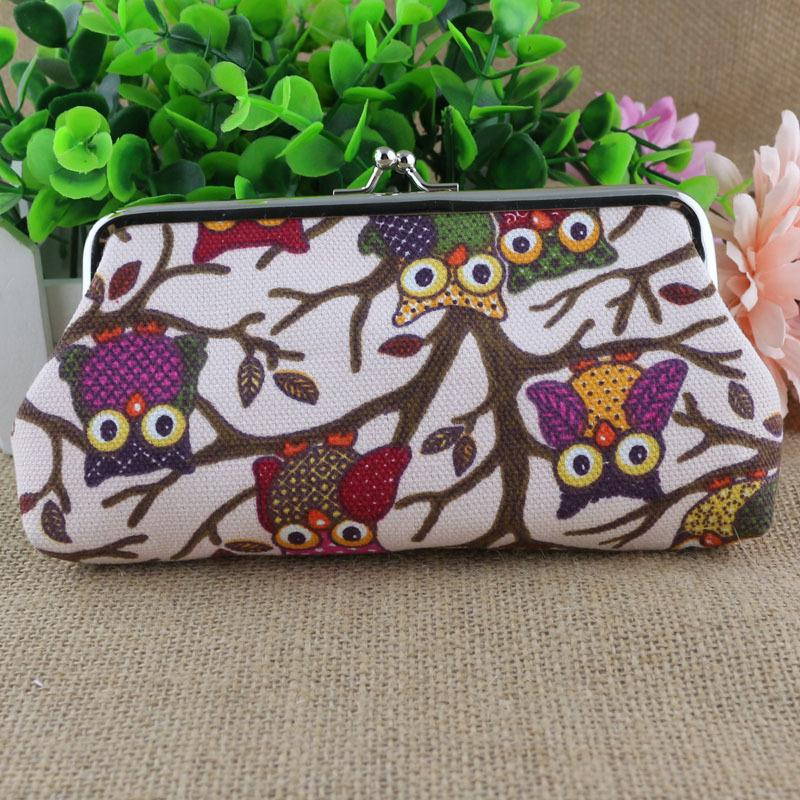 Newest Long Purse Owl Pattern Ladies canvas print coin purse key wallet phone case canvas bag Coin keychain keys wallet Purse