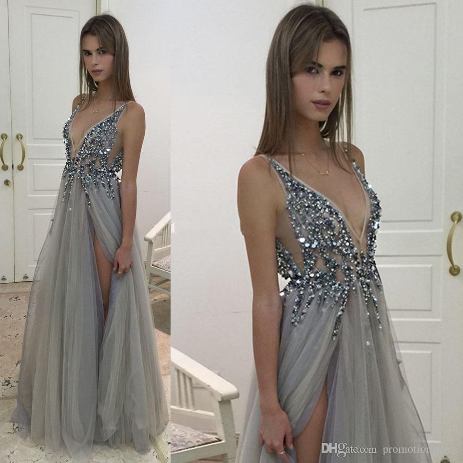 2017 Sexy Paolo Sebastian vestidos de noche cuello en V profundo con cuentas de tul de cristal de alta Split largo gris vestidos de noche Prom Party Dresses