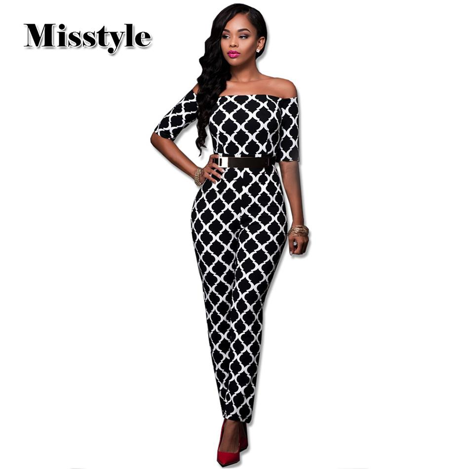 496e6741774 2019 Wholesale Misstyle 2016 Print Women S Jumpsuit Off Shoulder Casual  Jumpsuit Romper With Belt Plus Size Sexy Jumpsuit From Blueberry13
