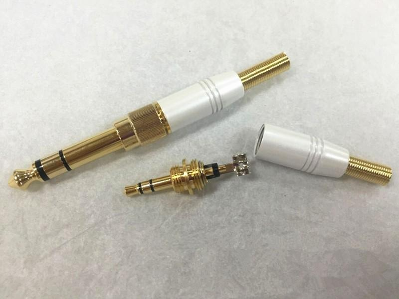 5Pairs White Stereo 6.35mm Male Plug to 3.5mm Jack + 3.5 Male Stereo with Spring Solder Connector for 4mm Cable