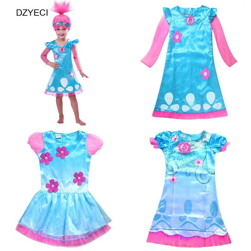 025de23403b56 Trolls Costume For Teenager Girl Dresses Poppy Children Cartoon Ariel Frock  Deguisement Elza Carnaval Kid Fancy Fairy Party Clothes