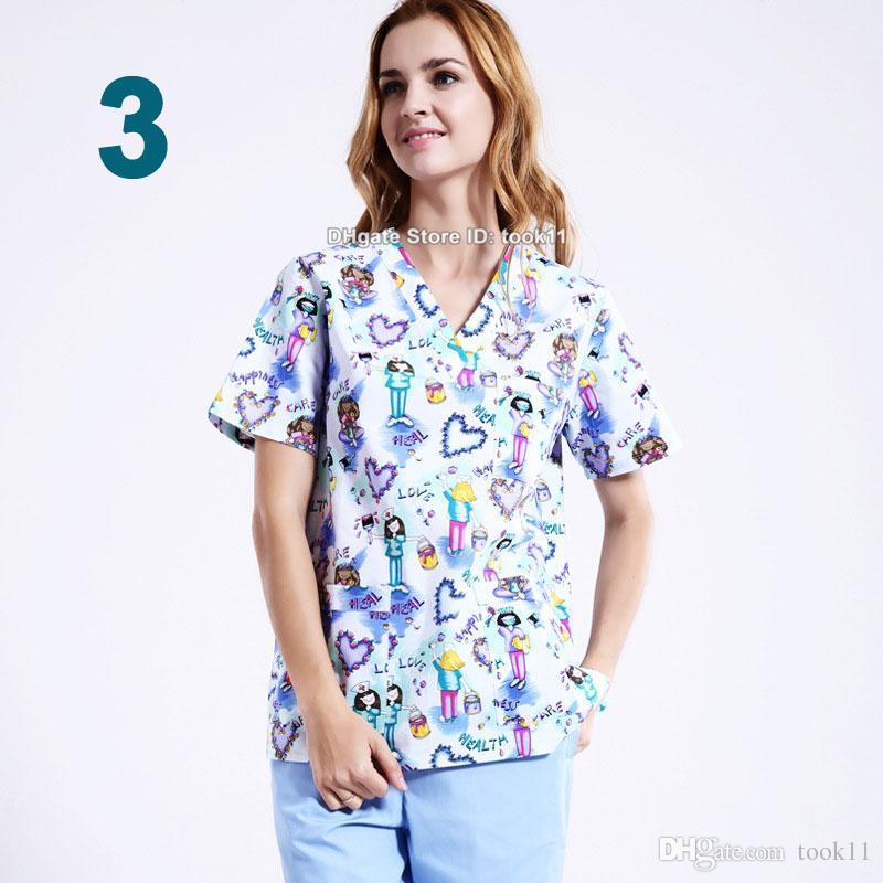 Donne uomini clinica ospedale medico workwear scrub set pet stampare vestiti dell'abito medici bellezza dentale abbigliamento medico infermiera uniforme top + pantaloni