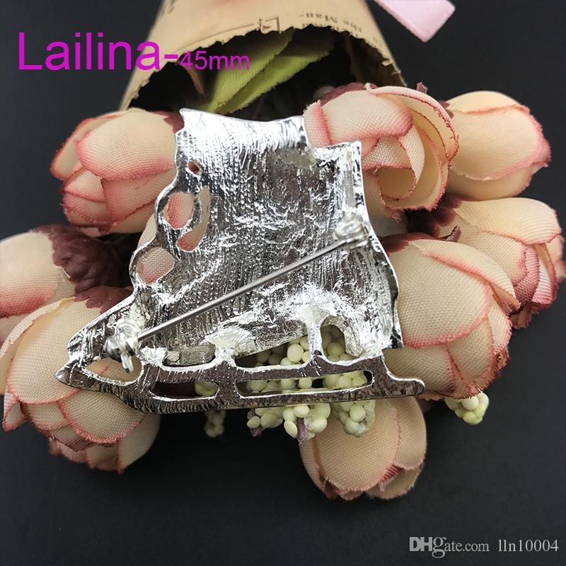 zinc alloy hot sale high quality 45mm skating shoes rhinestone enamel skating shoes brooch pin