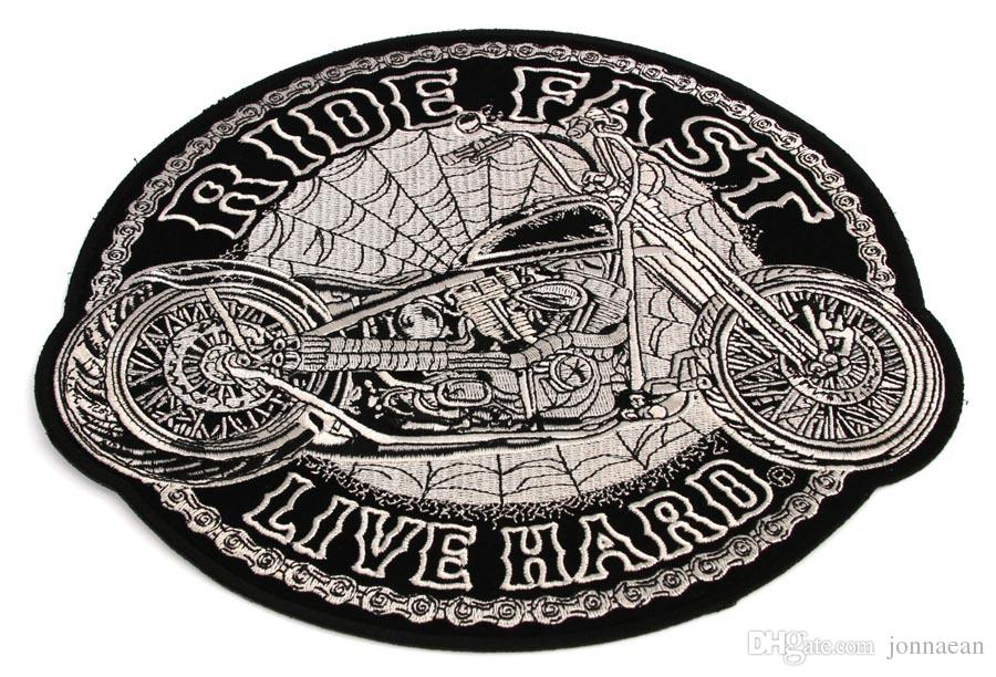 Ride Fast Live Hard Motorcycle Spider Webs Large Back Patch Motorcycle Biker Club MC Front Jacket Vest Patch Detailed Embroidery