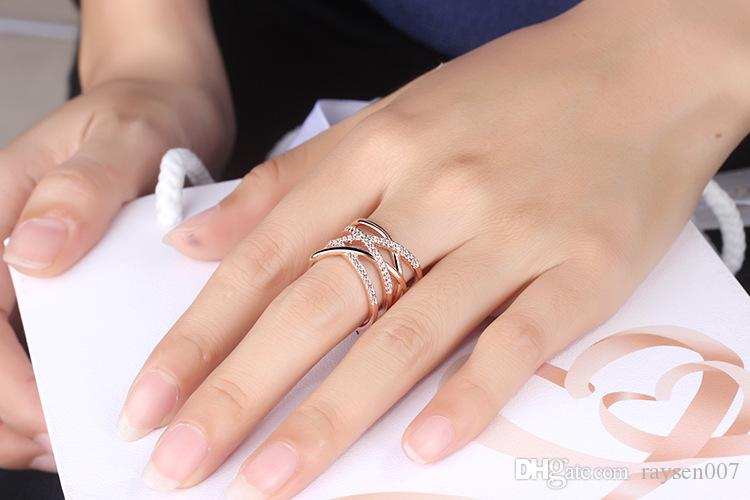 Ring For Women Luxury 18k Rose Gold Plated Zirconia Jewelry Finger Rings for Women Wedding Band Classic Rings Body Jewelry