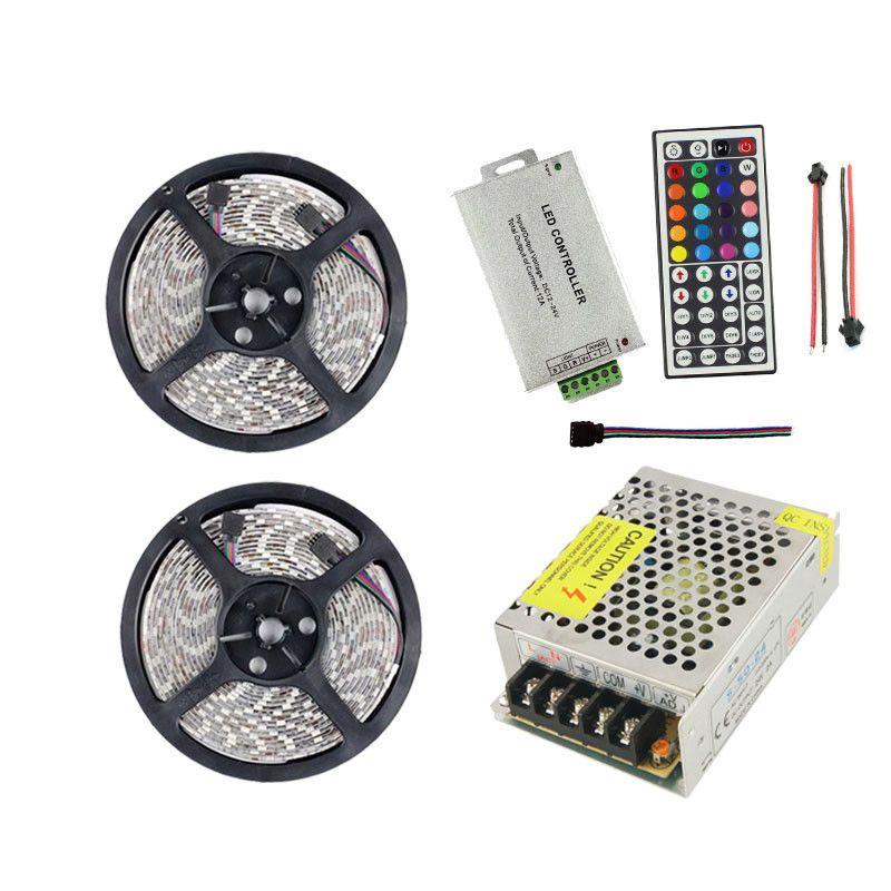 10 متر 24 فولت rgb led قطاع الخفيفة مصباح 5050 60 المصابيح / م 24 فولت الفرقة تيراس الشريط للماء ip65 + تحكم عن بعد + محول الطاقة محول ce
