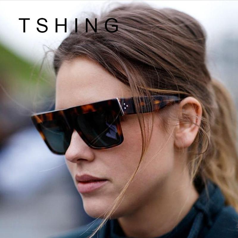 7590f4c5c Compre Atacado 2016 New Rivet Flat Top Square Mulheres Óculos De Sol De Moda  Famosa Marca Designer Superstar Óculos De Sol Feminino Shades Oclulos UV400  De ...