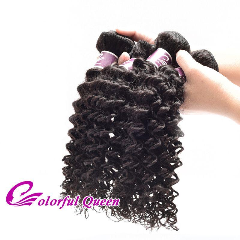 Cheap Brazilian Culry Hair Bundles 300G Brazilian Deep Wave Human Hair Weaves 7A Grade Virgin Human Hair Extensions Natural Black