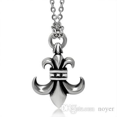 Wholesale mprainbow mens necklaces antique stainless steel vintage wholesale mprainbow mens necklaces antique stainless steel vintage fleur de lis pendant necklace silver color men jewelry with 24 chain pendant silver chain aloadofball Image collections
