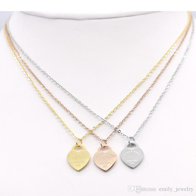 Venda quente Design Colar do amor do coração de aço inoxidável Wome Acessórios Zircon do amor do coração Colar Para Mulheres de presente da jóia nenhuma caixa