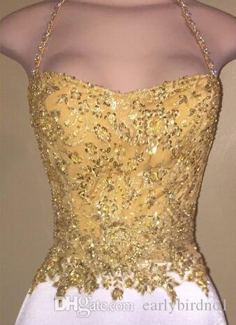 2017 neue Kleine Weiße Kurze Homecoming Kleider Gold Spitze Appliqued Top Neckholder Mantel Cocktailkleider Günstige Formale Mädchen Party Tragen