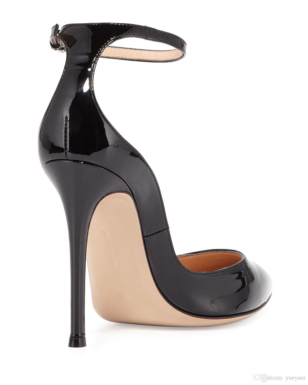Zandina Bayan Moda El Yapımı Büyük Boy Toka Askı Ayakkabı 100mm Yüksek Topuk Sivri Burun Parti Balo Akşam Stiletto Siyah K358 Pompalar