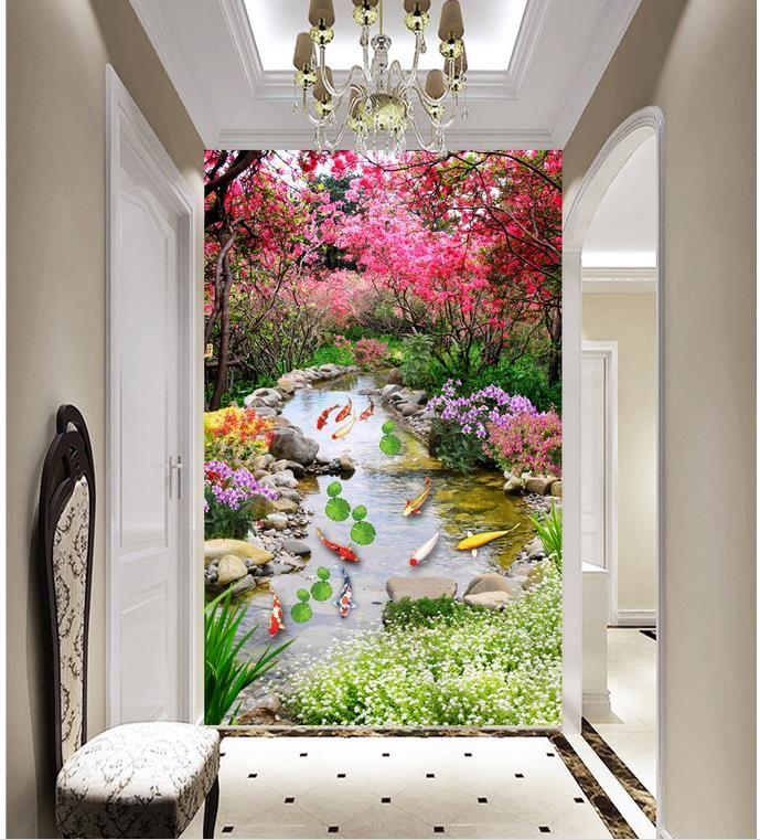 Luxus europäischen modernen Baum neun Fisch Karte Gras blauer Himmel Blumen Tapete für Wände 3 d für Wohnzimmer