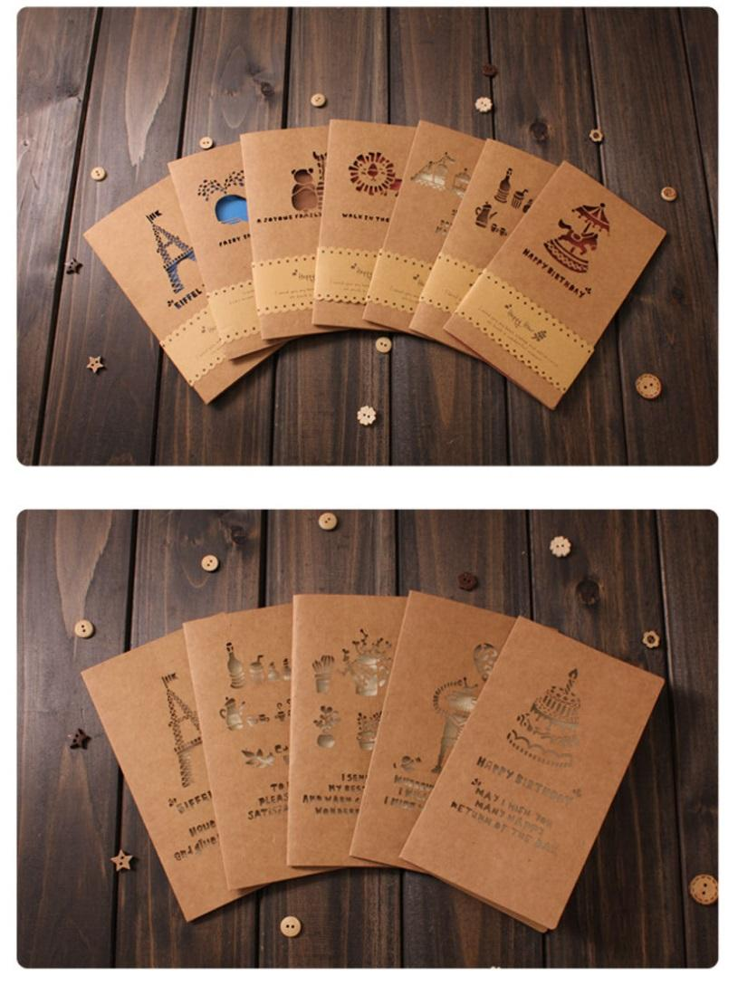 Customized Invitation Creative kraft paper greeting CARDS Retro laser hollow out Business gifts message birthday Holiday Business CARDS