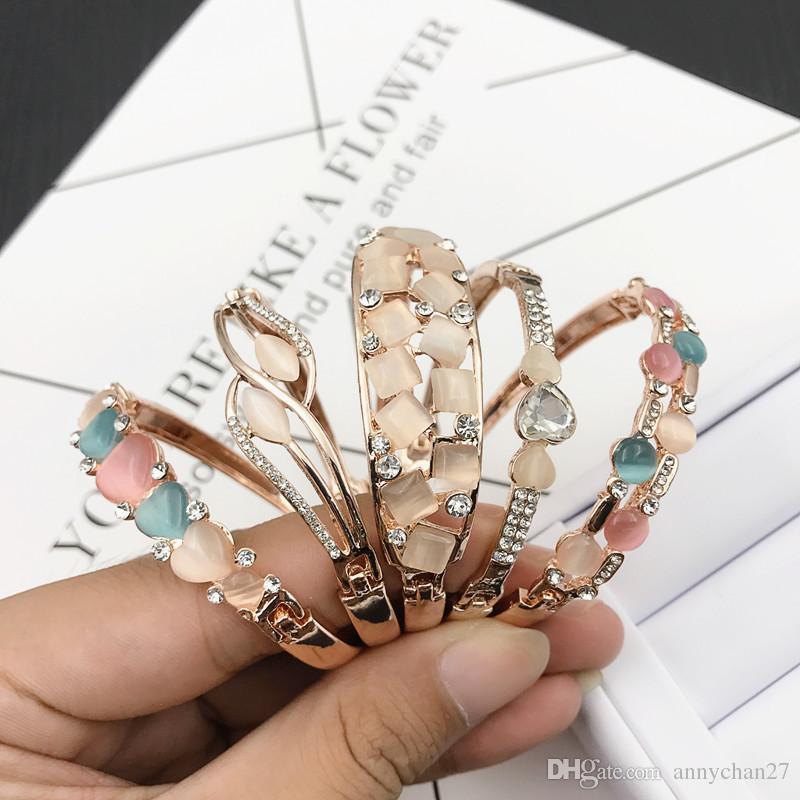 Charm Bangle Bracelet Rose Gold Silver Mix Stili diversi Ingrosso Cat Eye Gemma Strass Gioielli Bracciale qualità coreana DHL