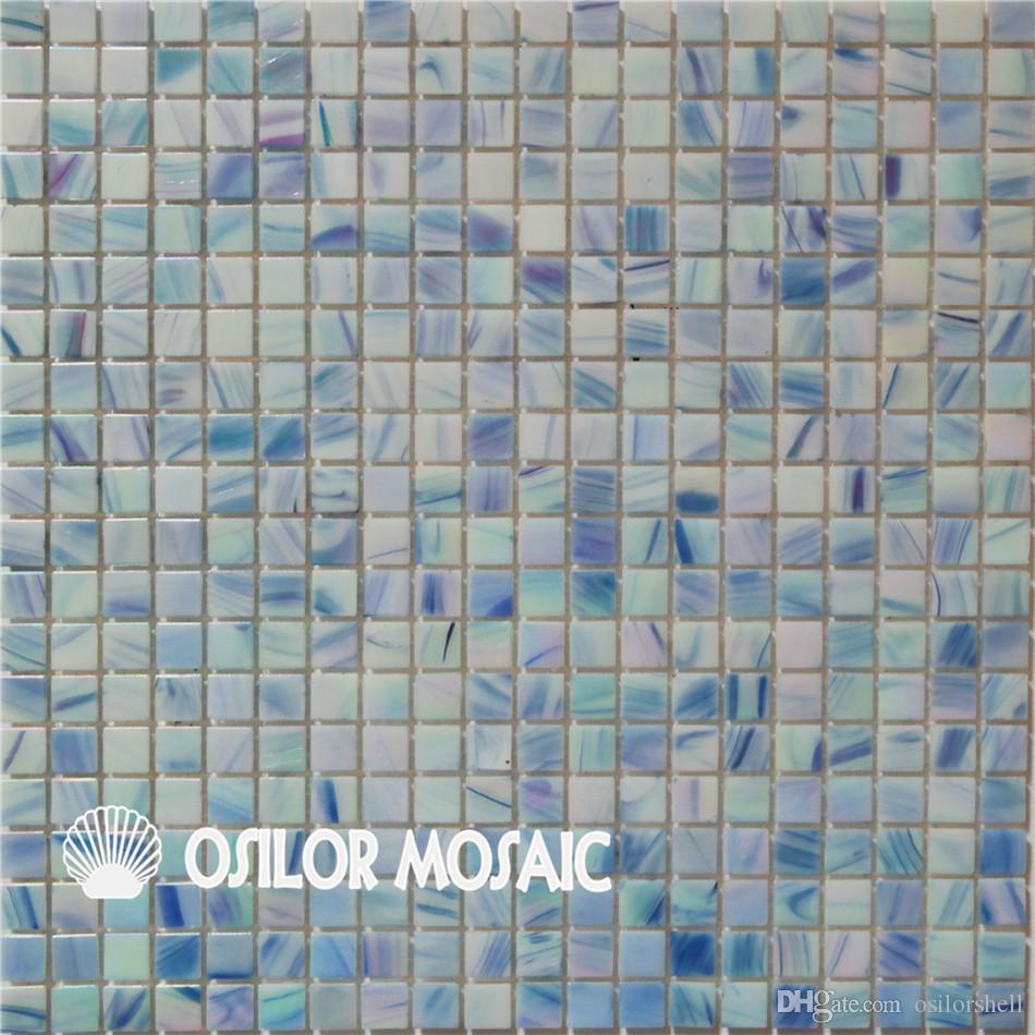 carreau de mosaïque en verre bleu pour salle de bain et cuisine arrière  carrelage mural 15x15mm 4 mètres carrés par lot PC13