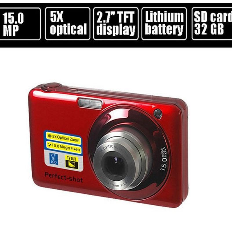 "Wholesale-15.0MP mega pixls Optical zoom digital camera with 2.7"" LCD Screen 5X optical zoom Face Detection Video function"