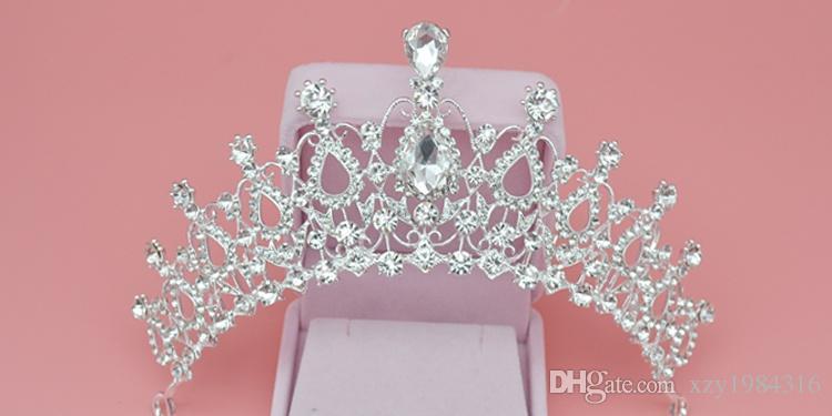 Barato Nupcial Tiaras Crystal Crown Accesorios de boda Baroque Queen Crowns Joyas nupciales Crystal Accesorios para el cabello Niñas Coronas de cumpleaños