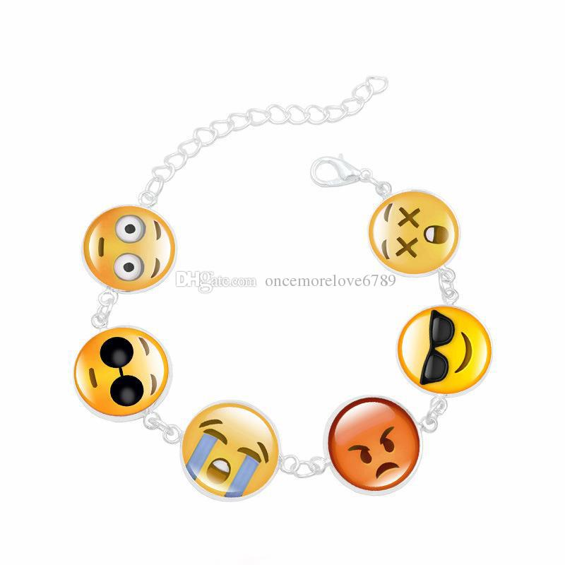 New Face Funny Emoji Bracelet Trendy Silver Plated Cute Glass Time Gemstone Bangles Bracelets For Women Gifts
