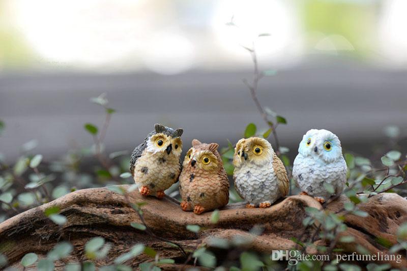 Micro Mini Fée Jardin Miniatures Figurines Résine Hibou Oiseaux Animal Figure Jouets Maison Décoration Ornement Livraison Gratuite ZA3901