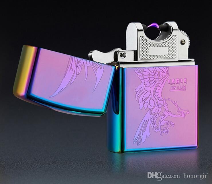 Arc Feuerzeuge Metall USB wiederaufladbare flammenlose elektrische elektronische Arc winddicht Zigarettenanzünder 9 Stile bunt