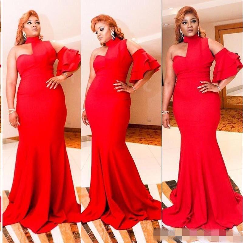 2018 New Design Red Formal Evening Dresses Saudi Arabia Halter Mermaid Prom Party Dresses One Short Sleeve Simple African Women Vestidos