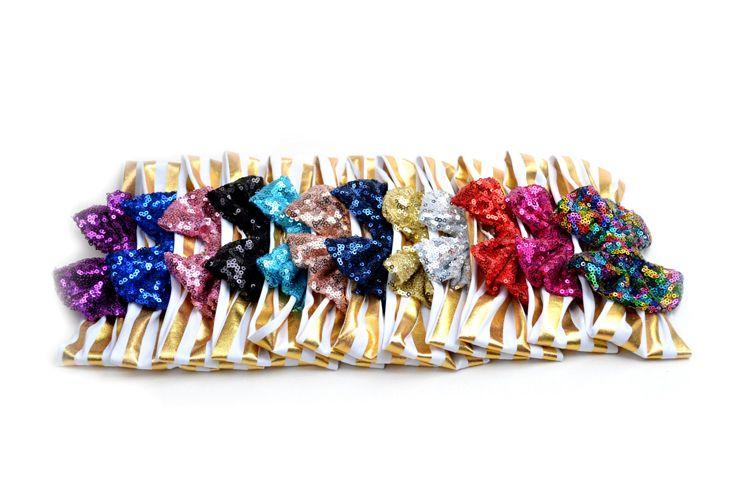 2018 Top Fashion Zl Lace New Kids Lentejuelas Accesorios Elásticos Del Pelo Lindo Bebé Big Bow Adornos Bandas de Raya de Luz es Zl338