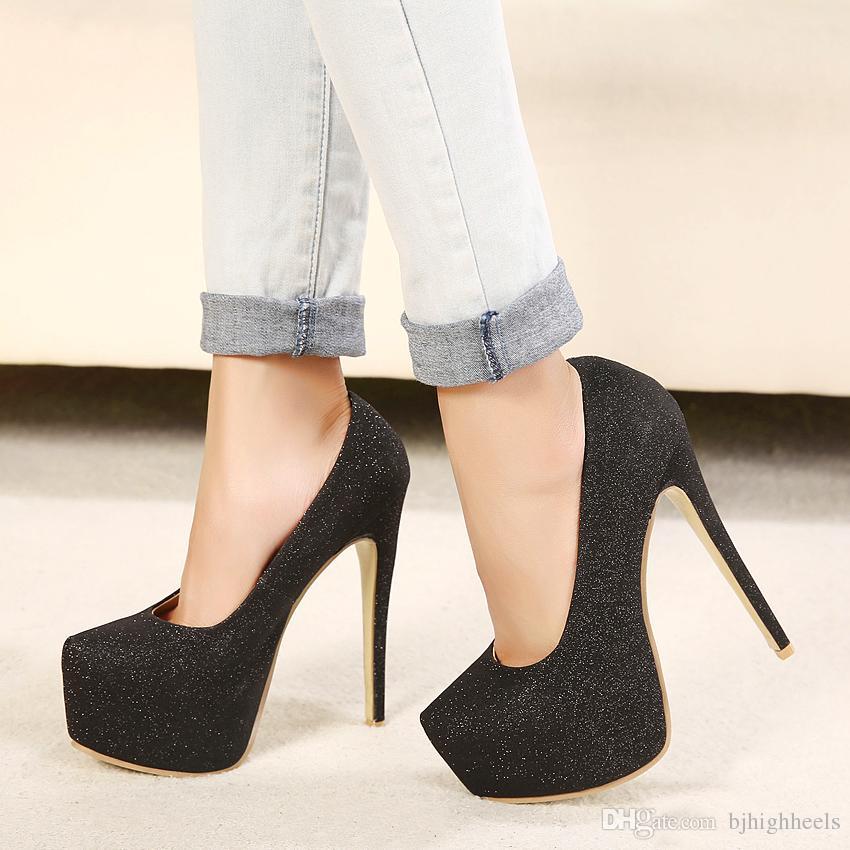 28cf19e0da38 15CM Heel Height Sexy Round Toe Stiletto Heel Platform Party Shoes heels US  size 5-11.5 No.A15-3