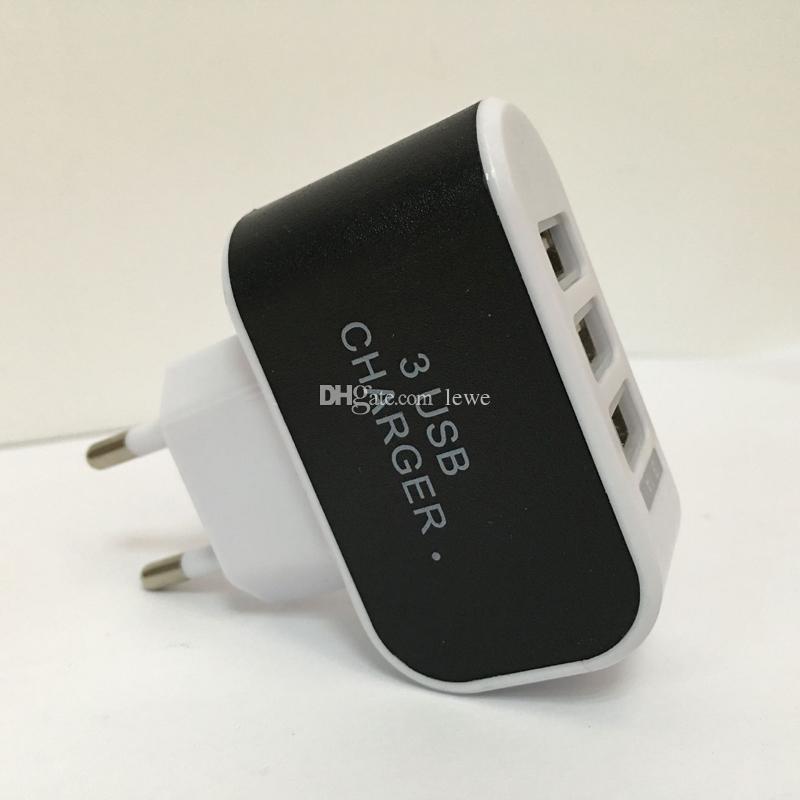 Venta caliente eu us plug usb cargador de pared 5v 3A puerto usb cargador 3 para samsung iphone lg