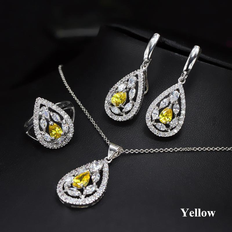 Joyería del partido de las mujeres Conjunto oro blanco plateado pendientes cúbicos Circonia anillo del collar de la joyería para la novia para la fiesta de la boda LY-037
