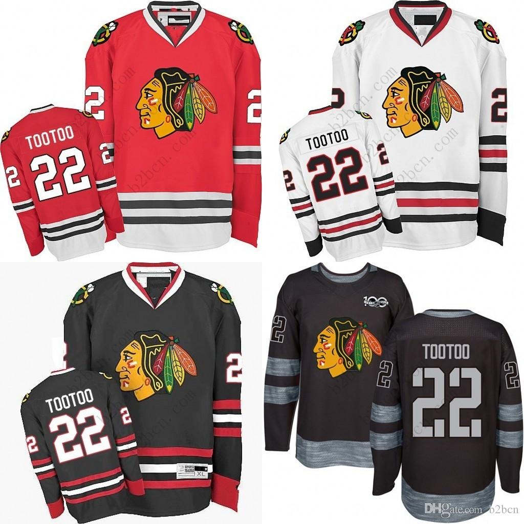 new style 9c991 3adc2 2017 Men s Chicago Blackhawks #22 Jordin Tootoo 2017 Winter Classic Premier  Red White Away Black 1917-2017 100th Anniversary Jersey