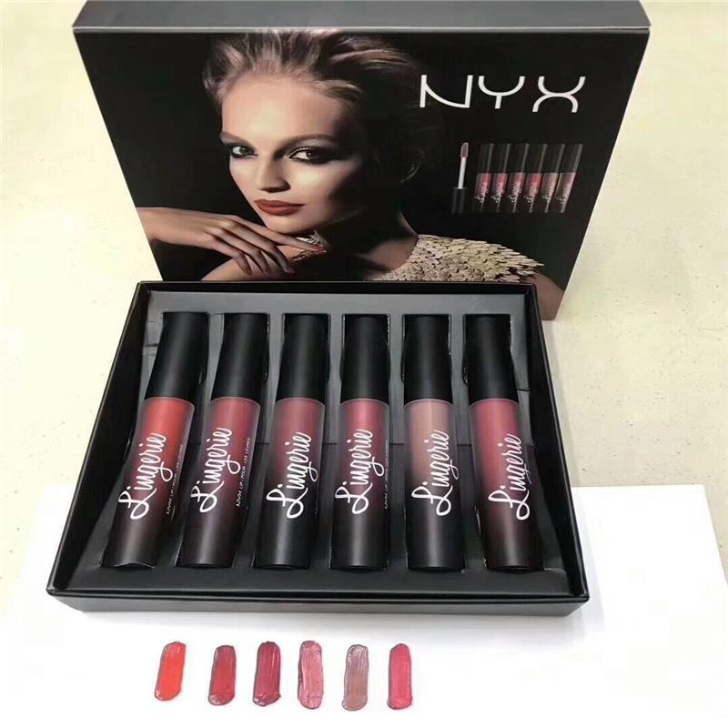 NYX الملابس الداخلية لون الشفاه غير لامع أحمر الشفاه النفط لمعان دائم العلامة التجارية للماء لون الشفاه ماكياج 6 اللون بالإضافة إلى الهدايا