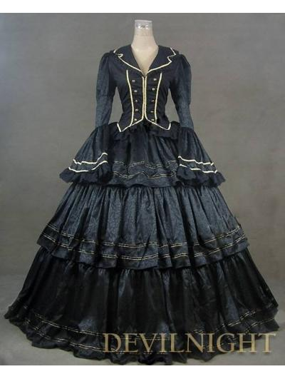Black Vintage Royal Gothic Renaissance Victorian Steampunk Dress ...