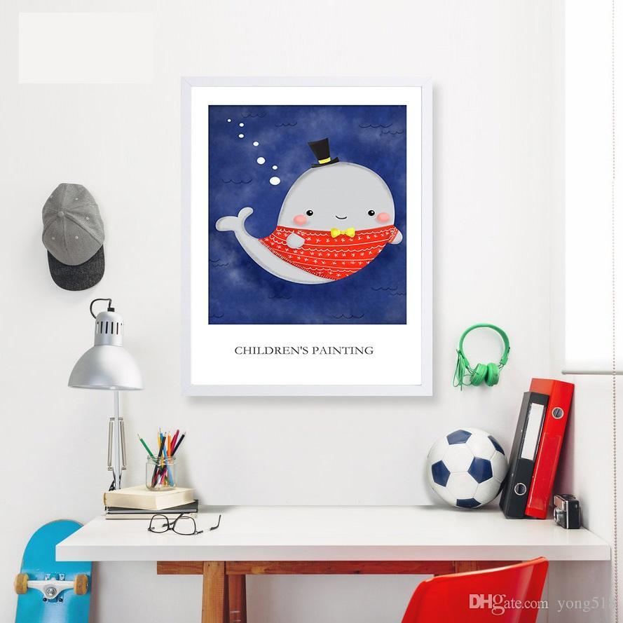 Enfants Affiche Flèche Baleine Art Toile Minimalisme Peinture Motivation Dessin Animé Pépinière Mur Photo Imprimer Chambre de Bébé Décoration