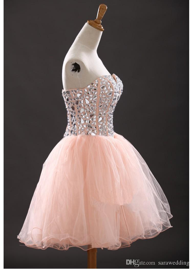Lovely Beaded Sweetheart Tulle Short Ball Gown Homecoming Dresses 2018 Knee Length Prom Dress Fast Shipping