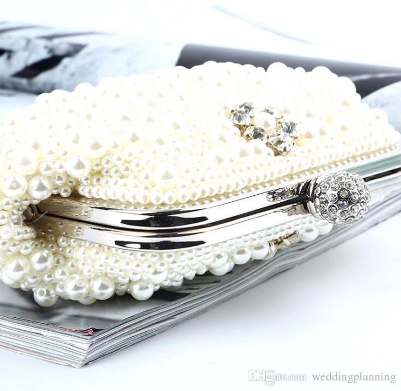 Ucuz Fildişi Beyaz İnciler Düğün Gelin El Çantaları 2017 Sıcak Tarzı Moda Kadınlar Için Boncuklu Debriyaj Çanta Parti Akşam Çanta