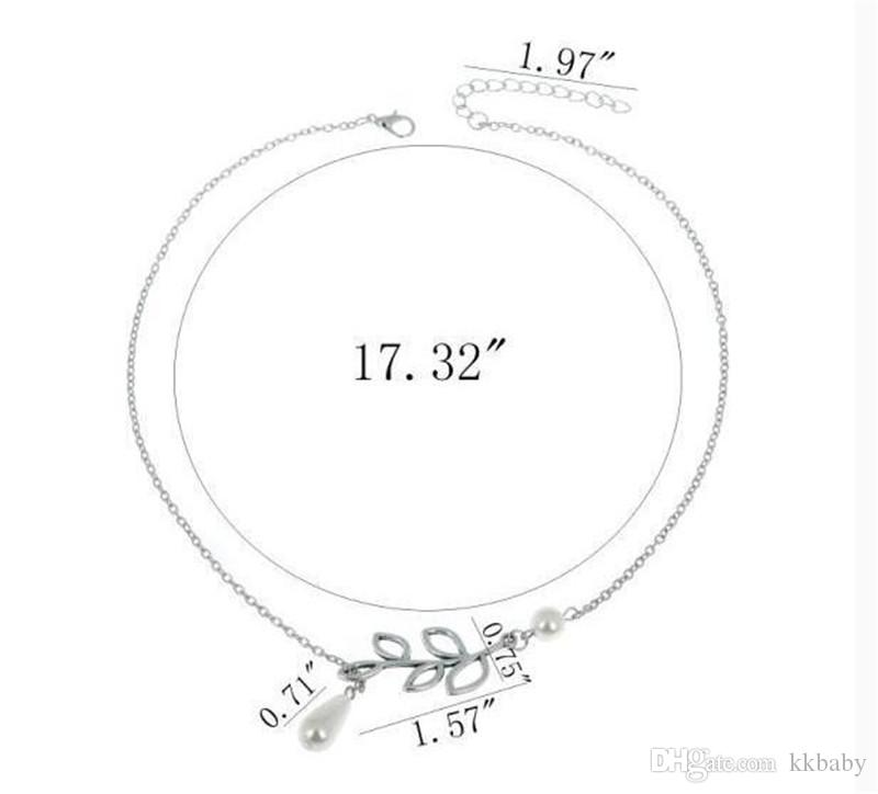 Blatt Anhänger Schmuck Frauen Perle Blatt Anhänger Halsketten Silber Überzug Dame Party Dress Charms Unendlichkeit Kette Perlenkette