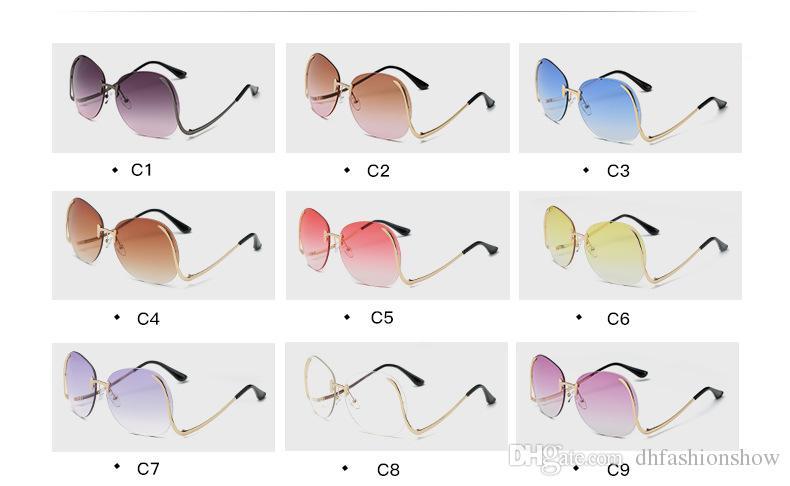 Steampunk Frameless Curved Leg Sunglasses Women Men 2017 Brand Design Colorful Oceanic Mirror Oculos De Sol Feminino UV400 Sun Glasses