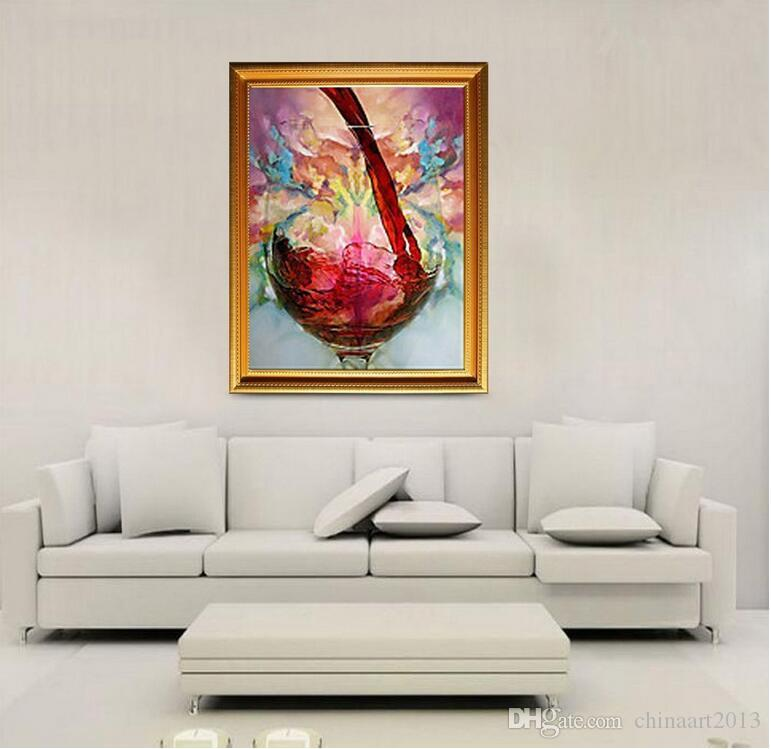 No Frame Wine Glass Hand-painted Abstract Oil Painting for Home Living Room Bedroom Hotel Decoration