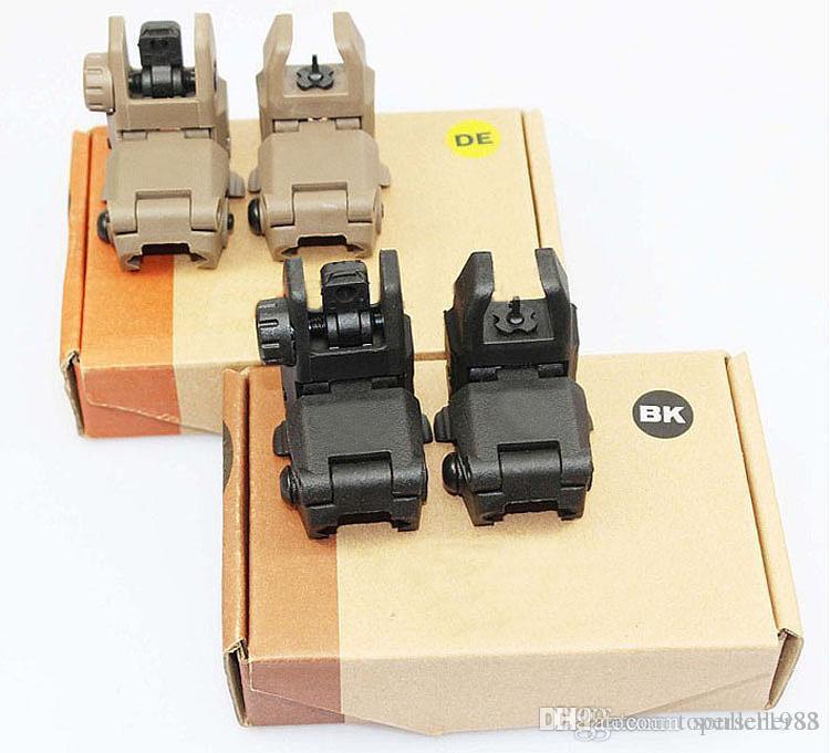 Nuovo mirino pieghevole anteriore Gen 1 anteriore e posteriore Airsoft BK DE con scatola al minuto