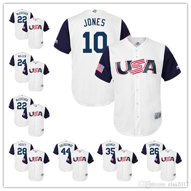46479b80b89 ... 2017 World Baseball Classic Authentic Team Jersey Mens USA Baseball  Jerseys 10 Chipper Jones 44 Paul Goldschmidt 35 Eric Hosmer Majestic White  Gray ...