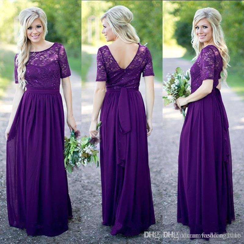 Compre Estilo Rústico 2017 Vestido De Dama De Honor Largo Púrpura ...