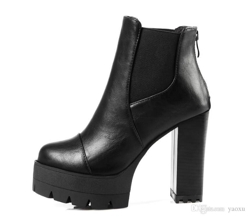New 2017 Sexy Women Boots Fashion Platform punk Square high heels Black Ankle boots For Woman Brand Design Ladies Shoes DHA12