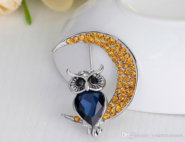 In Stock Shinny Crystal Owl Brooches MOON Brooches Party Red Flowers Pins brooches Jewelry 2017