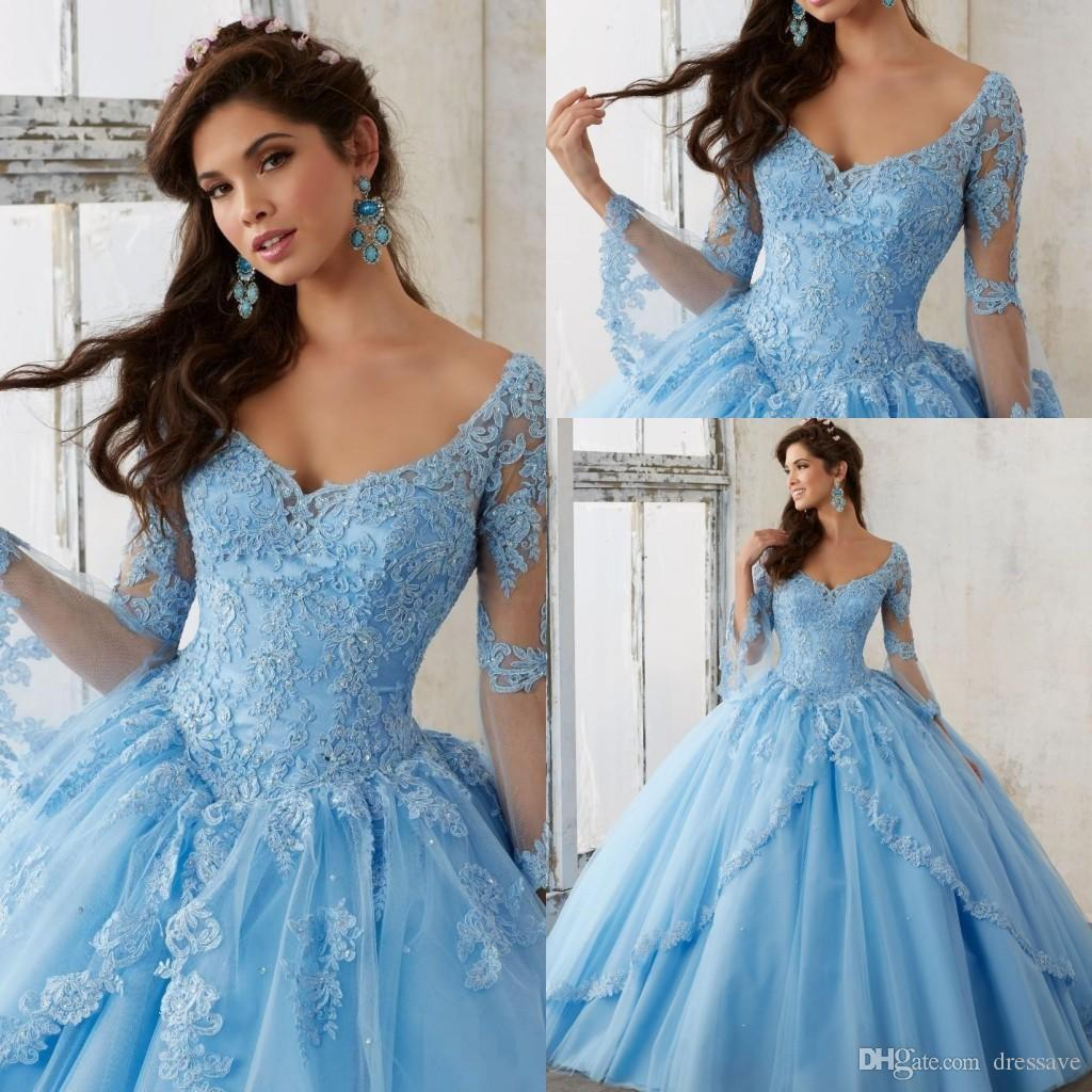 Sheer Lace Applique Long Sleeve Wedding Dress V Neck: Sheer Sky Blue Long Sleeve Ball Gown Plus Size Quinceanera