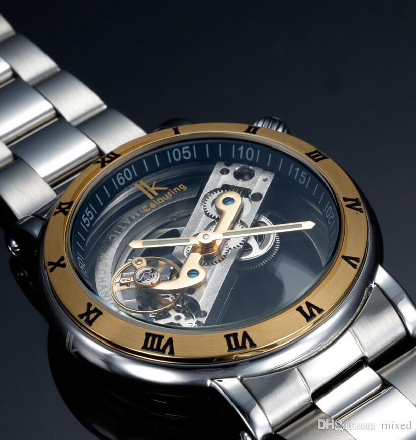 IK Coloring 98399G-S Автоматические механические часы мужские двойные полые мужские водонепроницаемые часы