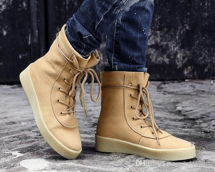 Acheter Chaussure Homme Superstar Kanye Style LTTL Hommes Chaussures Ankle  Brown Flat Bottines Lace Up Militaire Crêpe Bottes Couple Chaussures Booties  De ... e2e0546a1216
